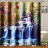 180x180cm cisnes flores cascata cortina de chuveiro à prova d'água com 12pcs C-tipo ganchos Banheiro conjunto