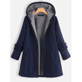 Solid Color Fleece Hooded Long Sleeve Thick Coats For Women