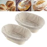 2PCS Rising Long Oval Bread Banneton Brotform Impasto Proving Cestini Di Stoccaggio Rattan Bask