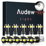 10Pcs Audew T10 W5W Car 2835 SMD LED Side Marker Lights Parking Interior Bulbs Canbus Error Free 2.7W 4882K Xenon White