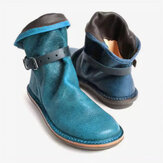 Phụ nữ Retro Leather Buckle Belt Round Toe Flat Boots ngắn