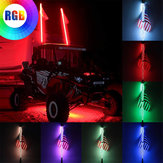 3FT 0,9 M RGB Żarówka LED Spirala 360 ° z flagą US i pilotem do SUV ATV RZR UTV