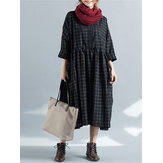Women Plaid Long Sleeve Loose Casual Dress with Pockets