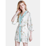 Flora Printed Sling Three-Piece Short Pajama Set With Robe
