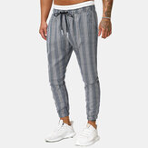 Mens Autumn Lattice Elastic Rope Casual Sports Pants