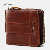 Men Genuine Leather Retro Leather Card Holder Zipper Wallet