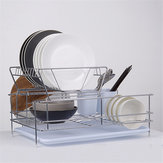 Dish Drainer 2 Tiers Stainless Steel Kitchen Washing Up Rack Holder & Drip Tray Kitchen Storage Rack