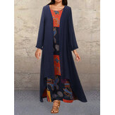 Plus Size Vintage Print Two Pieces Long Sleeve Maxi Dress