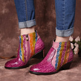 Women Hand Painted Rainbow Stripes Texture Ankle Boots