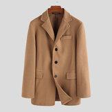 Men Single Breasted Wool Blend Coats