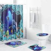 Okyanus Deniz Yunus Yüzme Dekor Banyo Duş Perdesi Su Geçirmez Kaymaz Halı Kaide Kilim Kapak Tuvalet Kapağı Banyo Paspas Duş perdeleri