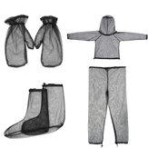4ピースジャケット+パンツ+手袋+足防蚊スーツ軽量高密度メッシュ屋外旅行キャンプ服スーツ
