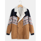 Corduroy Double Breasted Tribal Print Faux Jackets Coats
