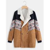 Manteaux en velours côtelé à double boutonnage et imprimé tribal