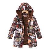 Abrigos con capucha y estampado floral de manga larga para mujer