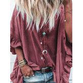 Kadın Gevşek Katı Flare Kol Düğme Aşağı Gömlek