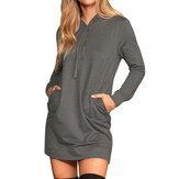 Pullovers Drawstring Long Sweatshirts Solid Casual Dress