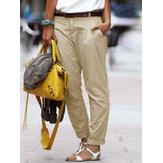 S-5XL Women Casual Solid Color Long Harem Pants