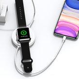 USAMS 3 em 1 Carregador sem fio Carregador de telefone Carregador de fone de ouvido Carregador de relógio com cabo USB para telefones inteligentes com habilitação Qi Apple AirPods Pro Apple Watch Series 1 2 3 4 5