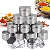 12Pcs/Set Magnetic Spice Tins Round Spice Container Spice Storage Boxes Magnetic Spice Jars for Kitchen Storage Container