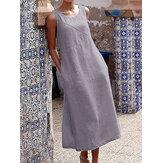 Sólido Casual Longo Maxi Vestido de algodão sem mangas