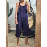 Solid Color Straps Casual Jumpsuit for Women