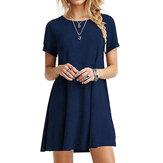 Kısa Kollu Günlük Gevşek O-Boyun Yaz Mini Elbise