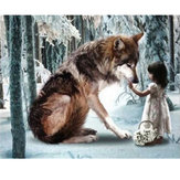 30 * 40 cm DIY 5D Diamentowa wilk Dziewczyna Hafty Obrazy Narzędzie Wklej ścieg Home