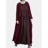 Long Sleeve Front Open Bandage Solid Maxi Cardigans