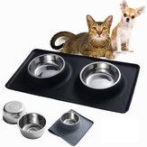 Miski ze stali nierdzewnej dla psa dla kota Mata silikonowa Podajnik do karmy wodnej Miska dla zwierząt