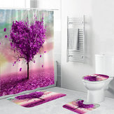 Romantic Heart Tree Waterproof Bathroom Purple Shower Curtain Toilet Cover Mat Non-Slip Rugs