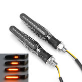 12 V 2 pcs moto LED clignotants clignotants feux indicateurs lampes en fibre de carbone Shell
