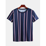 Herren Sommer Big Stripe Design Rundhals-Shirts