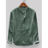 Męskie Vintage Luźne, wygodne, jednokolorowe guziki Latają z długim rękawem Casual Henley Koszule