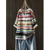 Винтаж Женское Хлопковая блузка с v-образным вырезом с коротким рукавом