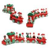 Bonito Charme 4 pcs De Madeira De Natal Ornamento De Trem Decoração Presente Crianças Brinquedos