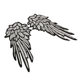 1Pair Iron-On Embroidered Patch Large Angel Wings Applique Motif Sequins Clothes Decorations