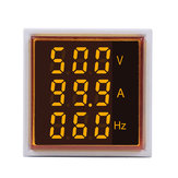 5pcs Geekcreit® 3 in 1 AC 60-500V 100A Square Yellow LED Digital Voltmeter Ammeter Hertz Meter Signal Lights Voltage Current Frequency Combo Meter Indicator Tester With Round CT