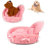 Pet Bed Dog Cat Bow Kennel Luxury Lace Princess House Cushion Winter Warmer Nest