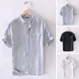 メンズリネン半袖シャツカジュアルな襟ボタンシャツトップブラウス休日