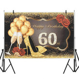 5x7FT Vinyl 60th Happy Birthday balloon Rose High-heeled Shoes Photography Backdrop Background Studio Prop