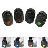 12V 30A 3-контактный SPST ON OFF Кулисный переключатель с LED с подсветкой светло-зеленый / желтый / синий / красный / белый для Авто Van Лодка