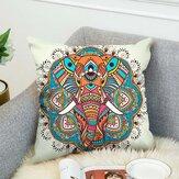 3D Bohemian Style Elephant Funda de cojín de impresión a doble cara Lino Algodón Throw Pillow Caso Sofá de oficina en casa