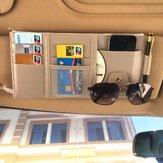Multifunktionale Leder Auto Aufbewahrungstasche Visier Cover Card License Holder Brillenetui