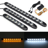 2X Flowing LED Lights Flexible DRL Turn Signal Lamp Strip Switchback White/Amber