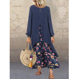 Patchwork Two Pieces Floral Print Long Sleeve Vintage Dress