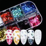 Nail Art Jewelry 12 Color Láser Magia Color Mariposa Lentejuela