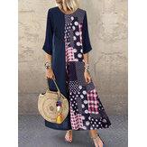 Mulheres polka dot impressão botão de costura Plus vestido tamanho