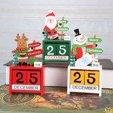 Noel Advent Geri Sayım Takvimi Ahşap Noel Baba Kardan Adam Ren Geyiği Desen Boyalı Bloklarla Tatil Ev Süslemeleri