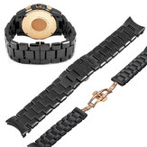 22mm Black+Rose Gold Ceramic Strap Watch Band Replacement for ARMANI AR1400 AR1410 AR1413 AR1414